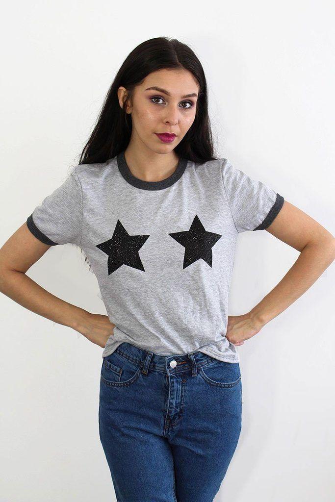 21f4b3c36a Tallulah s Threads Black Glitter Star Tee