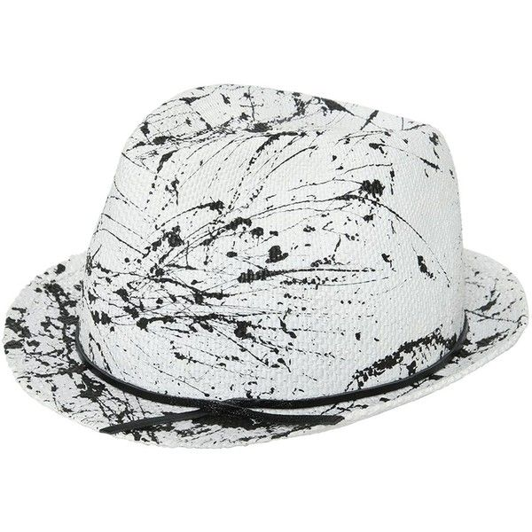 Move Men Splatter Painted Woven Straw Hat ($160) ❤ liked on Polyvore featuring men's fashion, men's accessories, men's hats, white, mens hats and mens straw hats