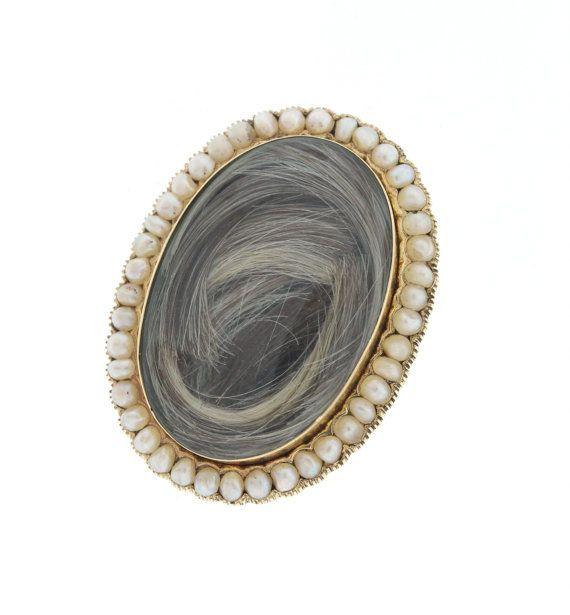 Victorien cheveux broche, broche de deuil Antique de perle de rocaille, victorien bijoutiers des années 1800, bijoux de cheveux