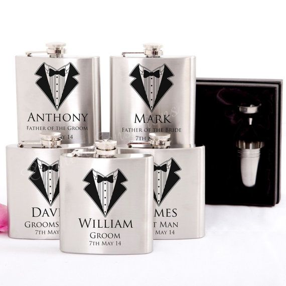 5x Engraved Stainless Hip Flask Gift by GiftwareDirect on Etsy