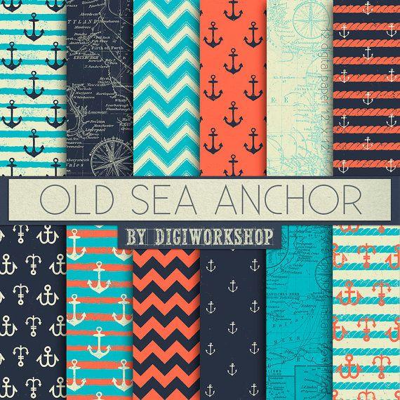 "12 Nautical Digital Paper - ""Old Sea Anchor"" set consisting of Nautical Paper, Nautical Backgrounds, Nautical Maps, Nautical Anchor"