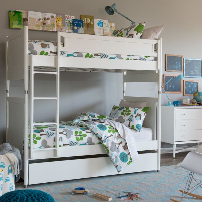 DwellStudio Mid Century Youth White Bunk Bed with Trundle. 17 best Types of Bunk Beds images on Pinterest   Bedroom designs