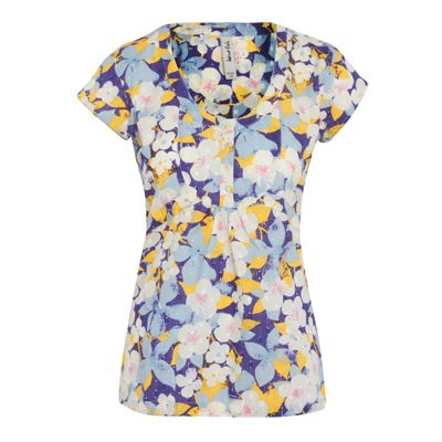 Laila Printed V Neck Top A fresh V neck blouse top in a slightly textured cotton dobby fabric. Featuring prints from the season, flattering empire line and cute decorative buttons. Hidden side zip opening.