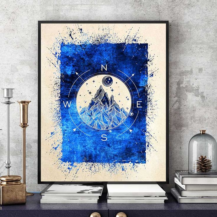 Compass Rose Wall Art, Compass Print, Compass Art, Mountain Art, North Star, Moon And Stars Print, Watercolor Compass (N553) by PointDot on Etsy