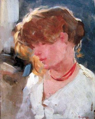 Nicolae Grigorescu (1838 - 1904) | Impressionism | Peasant Woman Head - 1905