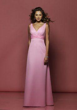 robe rose de demoiselle d'honneur v-cou