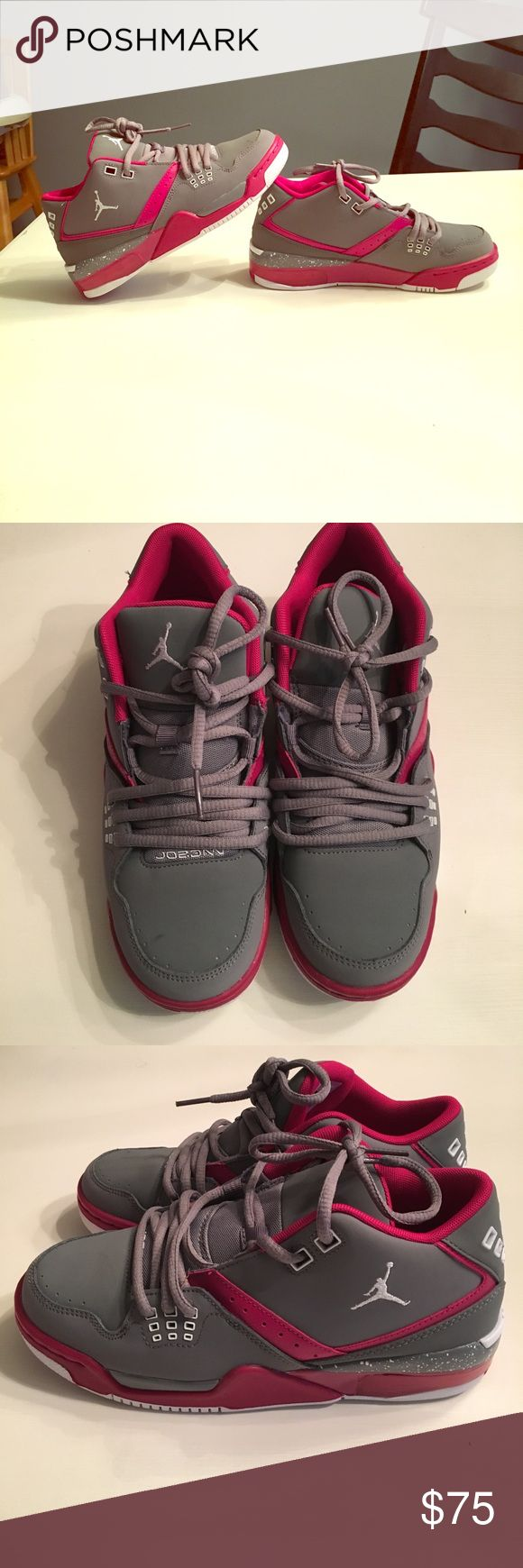 NWOT Jordans Air Flight 23 Youth Size These awesome Jordan's are grey and pink and have never been worn! They are a youth size 5, but can also fit a women's size 7. Super cute, don't pass these up! Air Jordan Shoes Sneakers