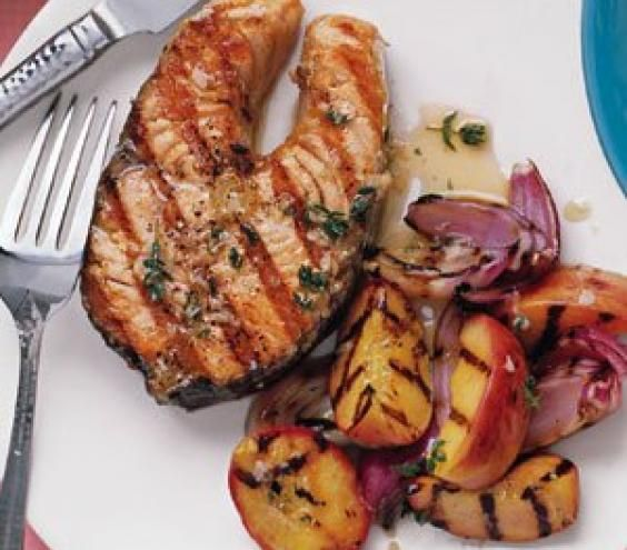 Gingery Salmon With Peaches
