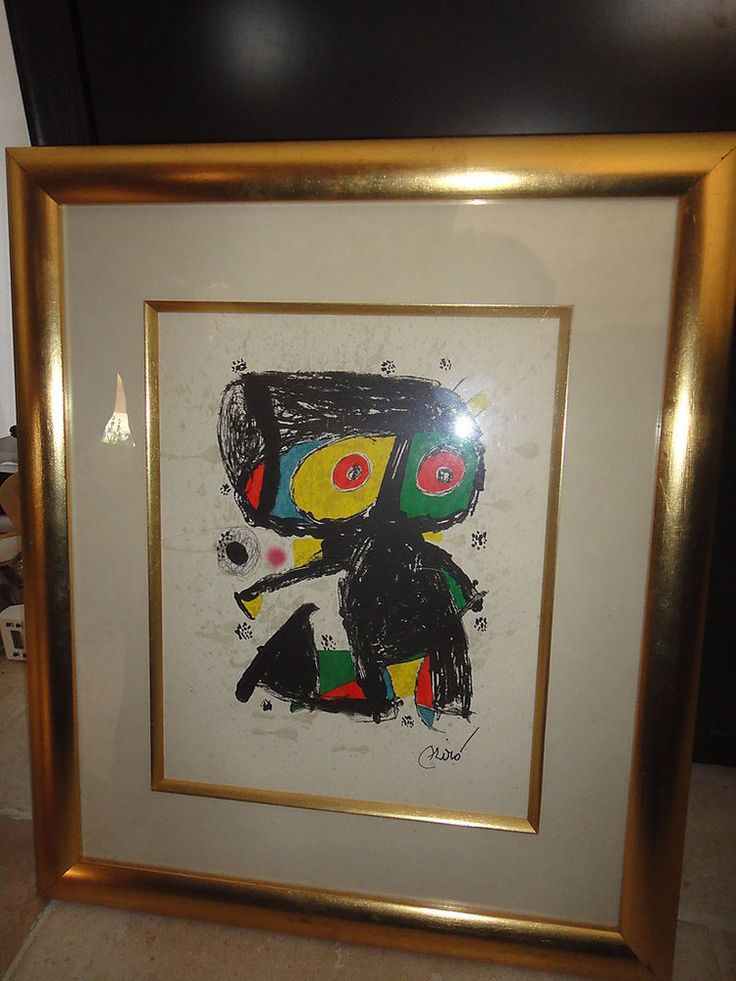 miro lithographie originale encadr e ann es 80 framed art pinterest. Black Bedroom Furniture Sets. Home Design Ideas