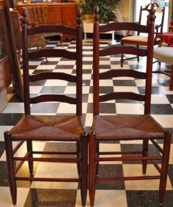 Fine Clear Grained Shaker Style Ladder Back Chairs With Rush Seats.  Although Weu0027d