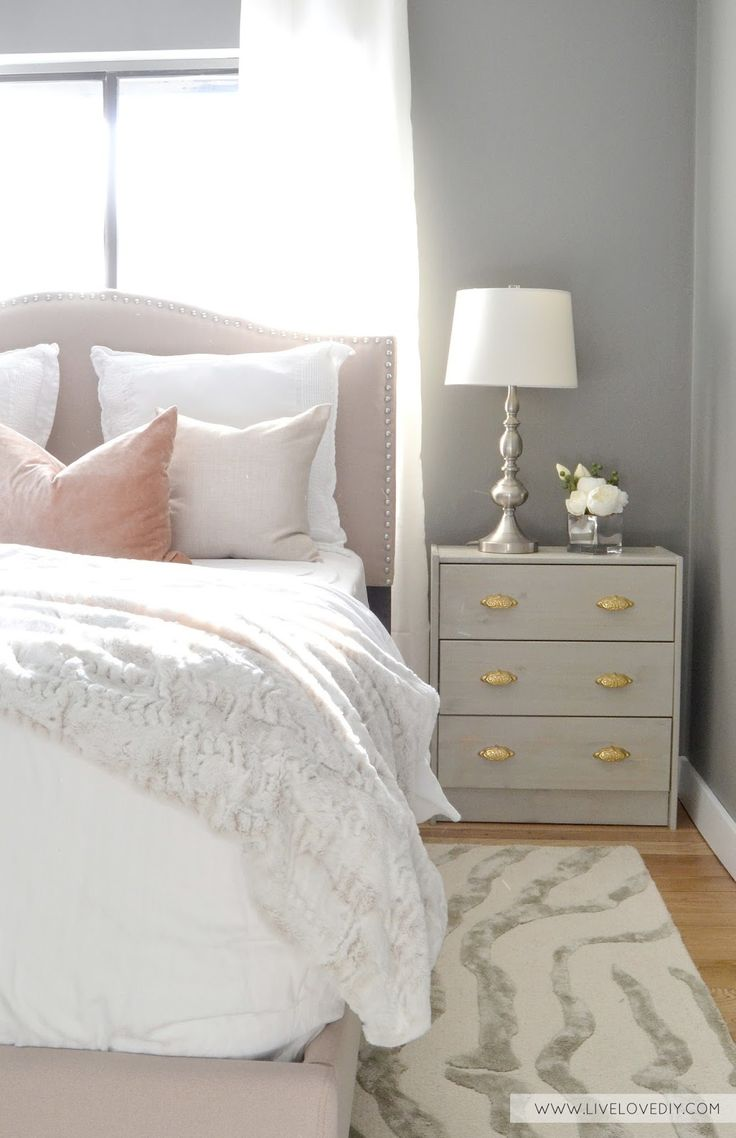guest bedroom makeover with benjamin moore chelsea gray paint ikea rast hack with new hardware