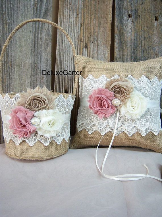 Romantic Bring Bearer Pillow and Flower Girl Basket Set/Rustic Shabby Chic Wedding Burlap Set/Burlap Ring Pillow and Basket