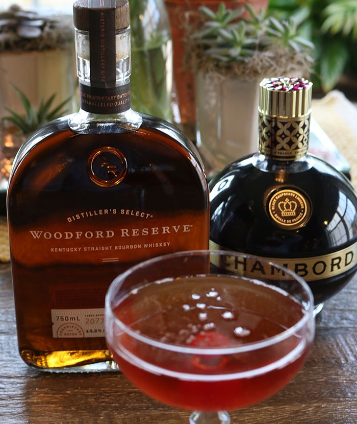 French Manhattan  INGREDIENTS  2 oz Woodford Reserve®  1 oz Chambord® Liqueur  1 dash Bitters   HOW TO MAKE IT Shake 2 oz of Woodford Reserve® Bourbon, 1 oz of Chambord® Liqueur and 1 dash of bitters in a shaker with ice and strain into an ice-filled rocks glass. Garnish with a cherry.