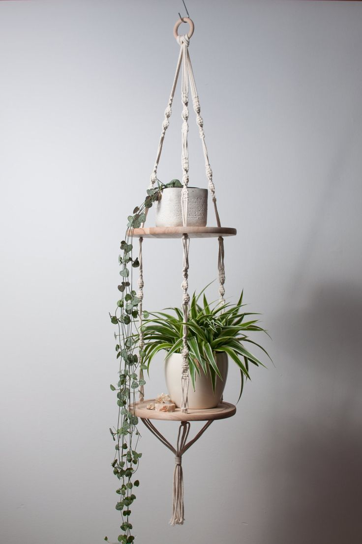 Multi-purpose double macramé hanger with wooden platters