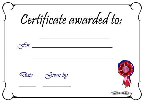 blank certificate template - photo #30