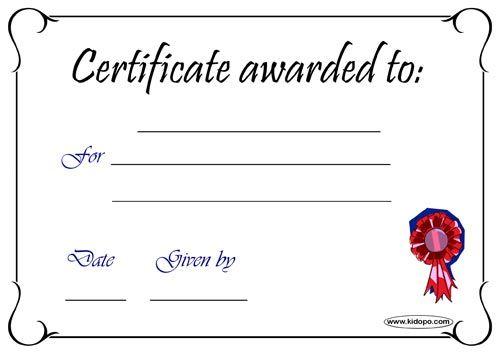 Blank certificate award
