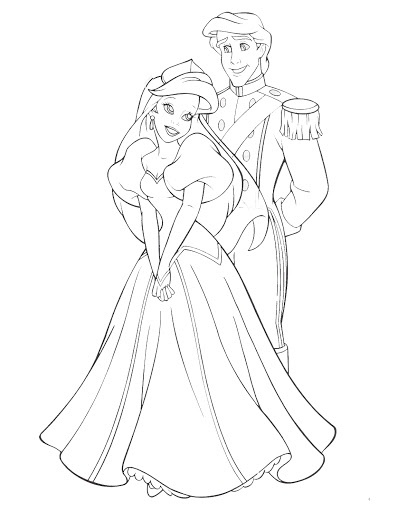 Princess Ariel On A Date With Prince During The Days Of Christmas Coloring Pages