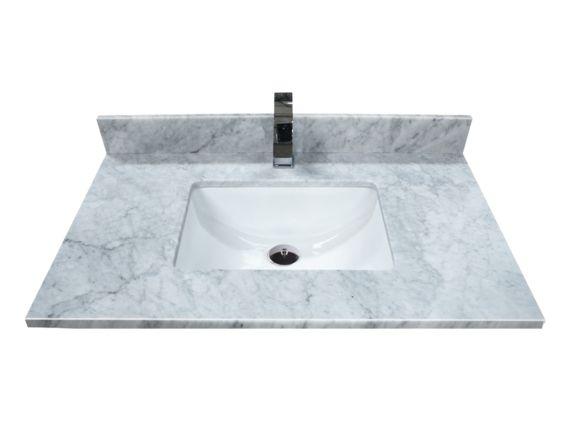 """Dessus de meuble-lavabo en marbre carrara 37"""" - Dessus 37-42 pouces - Dessus de vanités - Mobilier de salle de bain - Salles de bain - Produits - Bain Dépôt"""