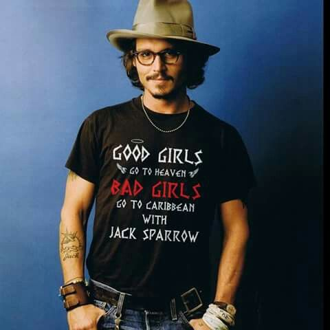 Johnny Depp with Jack Sparrow t-shirt