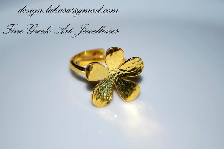 Flower Ring Sterling Silver Gold-plated Jewellery Price : 59 euros - Order Code : 01R12 one size (adjustable ring) FREE Shipping Worldwide for all orders up to 40 euros! All products are protected in Luxury Gift Package Lakasa eShop Jewelry Fine Greek Art