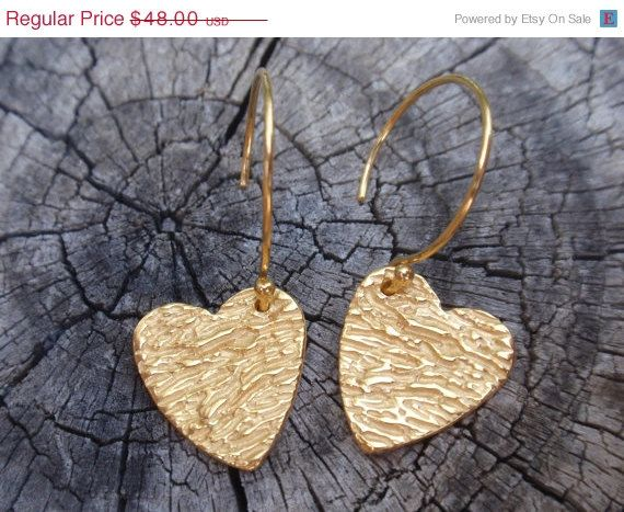 heart earrings  gold dangle earrings 24k gold plated by preciousjd
