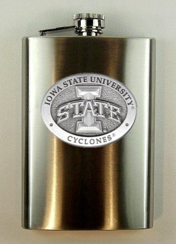 Iowa State Cyclones Flask by Heritage Pewter. $32.00. Carry your favorite refreshment in style with this stainless steel 8 oz Iowa State Cyclones Flask featuring a pewter University of Iowa State medallion. Perfect for holding the spirit that keeps you warm on those cold Midwestern nights.