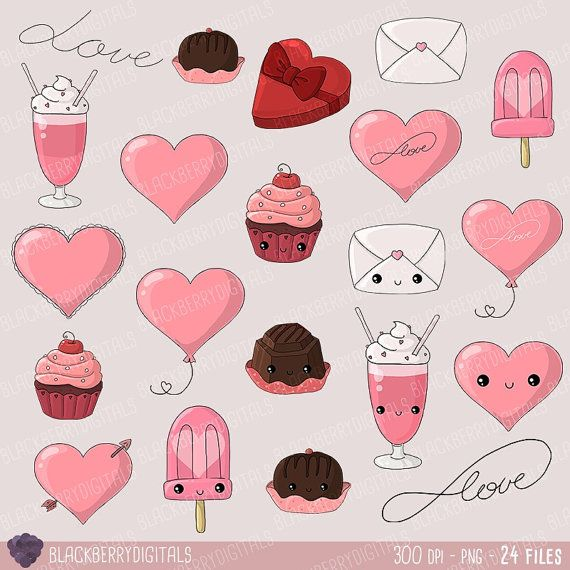 Kawaii Valentine's Day Clipart kawaii by BlackberryDigitals