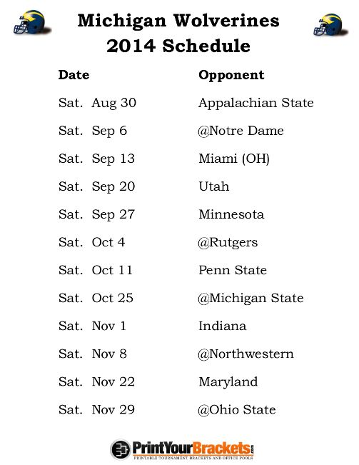 Michigan Wolverines Football Schedule 2014