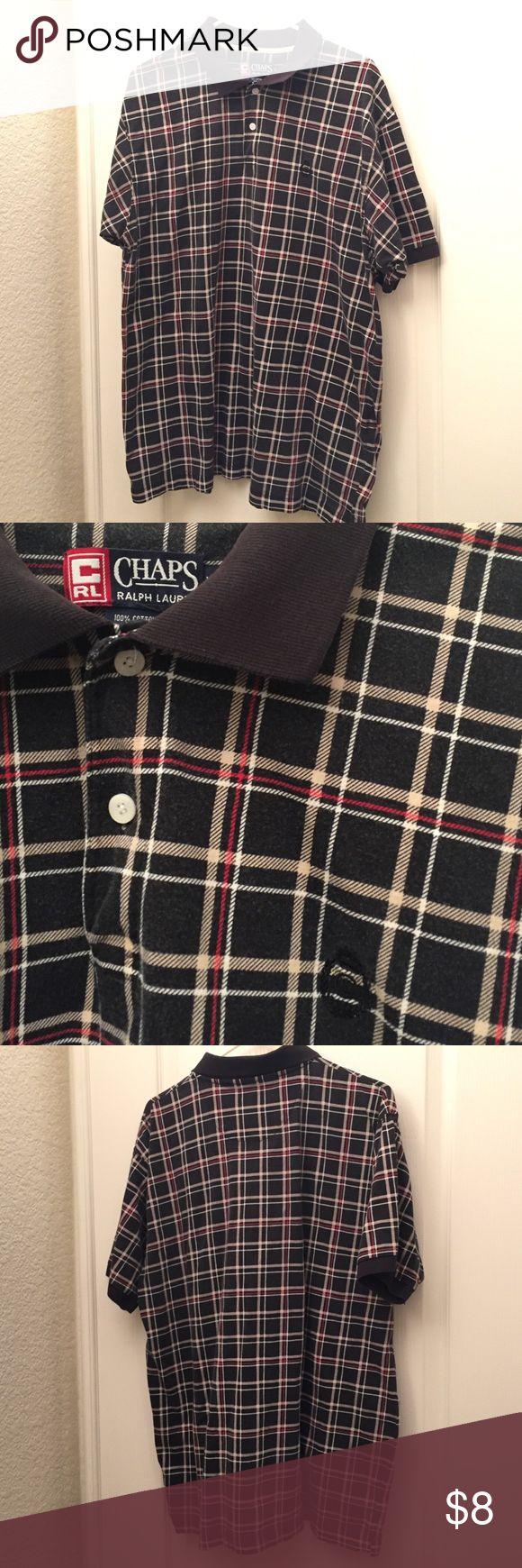 Men's Chaps Ralph Lauren Polo Faded black plaid polo shirt {2} Chaps Shirts Polos