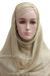 Shimmer Hijab Asymmetrical Pleat-Gold