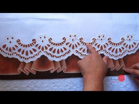 Como riscar barrado no tecido com molde espelhado - YouTube