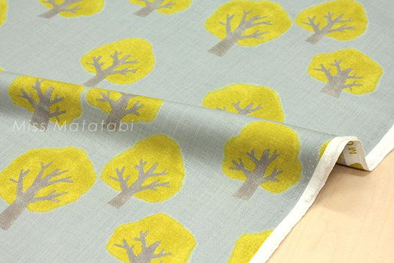Japanese Fabric Kokka Tomotake Muddy Works Trees by MissMatatabi
