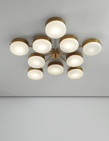 Gio Ponti | Ceiling light | c. 1955 | Polished brass, painted brass, opaque glass