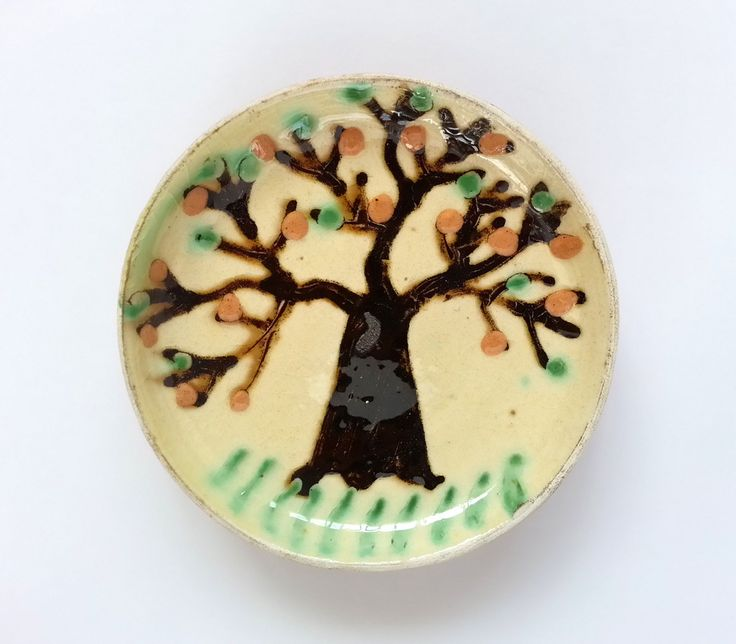 Buy now this miniature decorative Horezu plate - Romanian authentic handmade folk art
