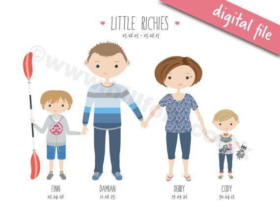 Aangepaste familieportret 4 mensen/huisdieren, DIGITAAL BESTAND, cartoon portret, gepersonaliseerde familie illustratie, kerstcadeau, verjaardag cadeau