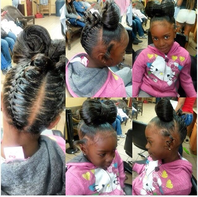 Cute little black girl bow and braid ponytail updo. Natural hair black hair for kids.