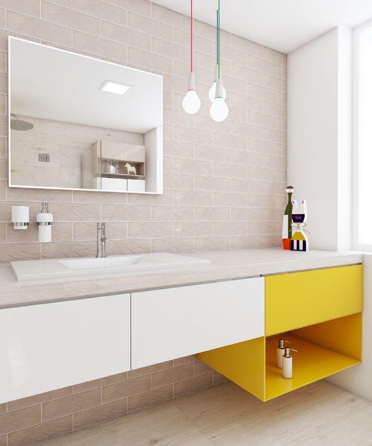 Dětská koupelna LIMON PLAY / Kids bathroom LIMON PLAY #bathroom #bathroomdesign #bathroomideas #kidsbathroom #interiordesign #shiny #sunny #warm #playfuldesign #yellowtiles  #washbasin #umyvadlo #perfecto #perfectodesign