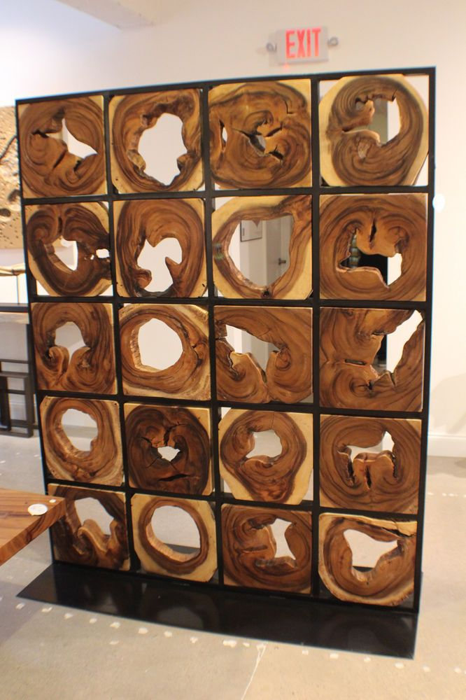 75  H Screen Acacia Wood Metal Frame modern style Natural cuts spectacular