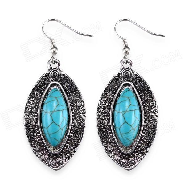 Brand: eQute; Model: EPEW17C1; Quantity: 2 Piece; Color: Silver + blue; Material: Zinc alloy + turquoise; Gender: Women; Suitable for: Adults; Length: 3.8 cm; Width: 2.4 cm; Packing List: 2 x Earrings; http://j.mp/1p0ZpH4