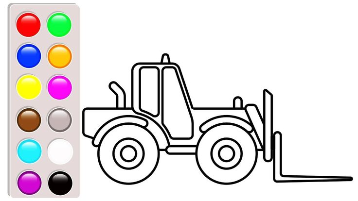 Small truck coloring pages, Forklift coloring book video ...
