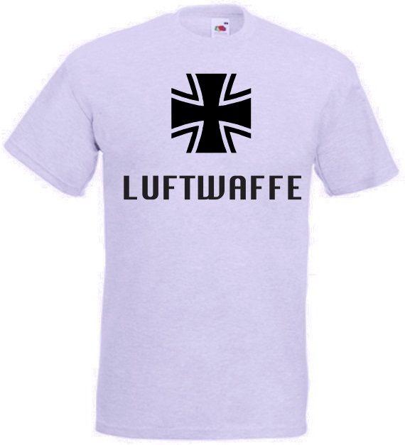Bundeswehr T-Shirt Luftwaffe mit Kreuz in grau / mehr Infos auf: www.Guntia-Militaria-Shop.de