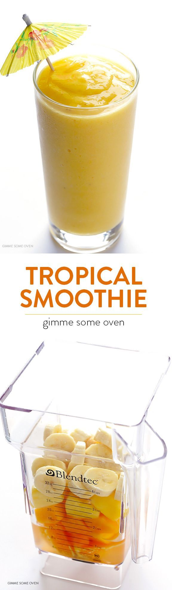 5-Ingredient Tropical Smoothie -- overflowing with my favorite fruits, and so easy and delicious | http://gimmesomeoven.com