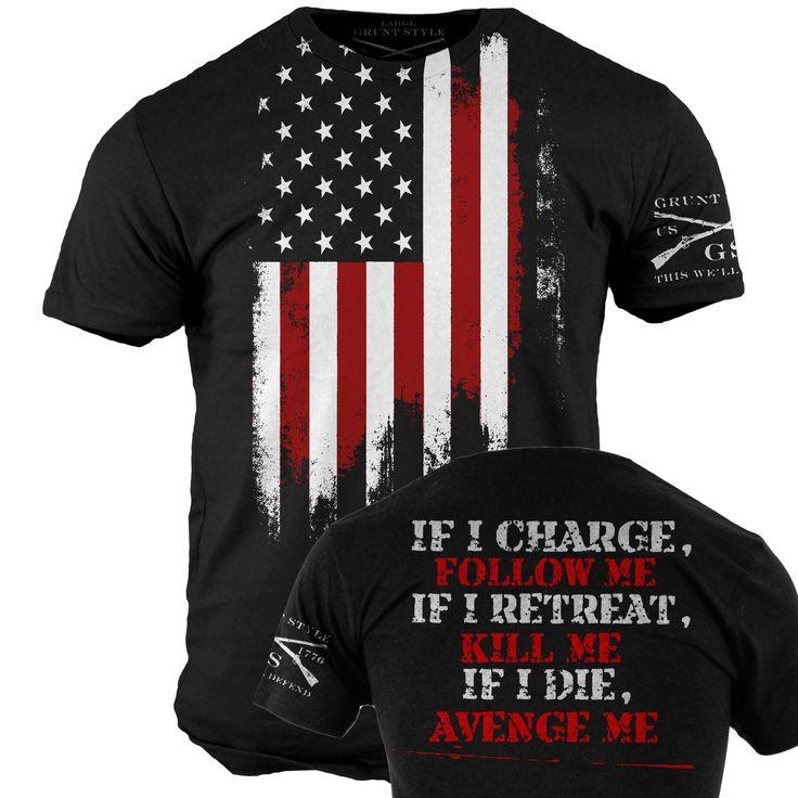 Star Spangled 1776 - Avenge Me T-Shirt - Grunt Style Military Men's Black  Graphic Tee Shirt