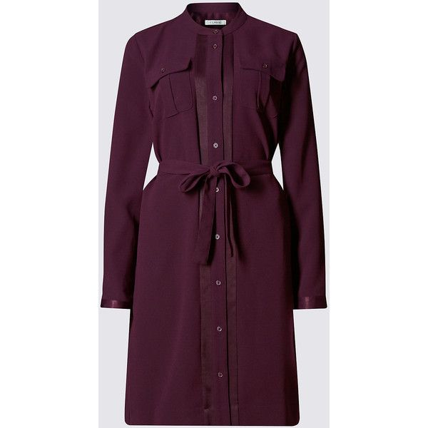 Classic Button Through Belted Shirt Dress ($79) ❤ liked on Polyvore featuring dresses, purple, holiday dresses, purple long sleeve dress, button shirt dress, evening dresses and long sleeve dress