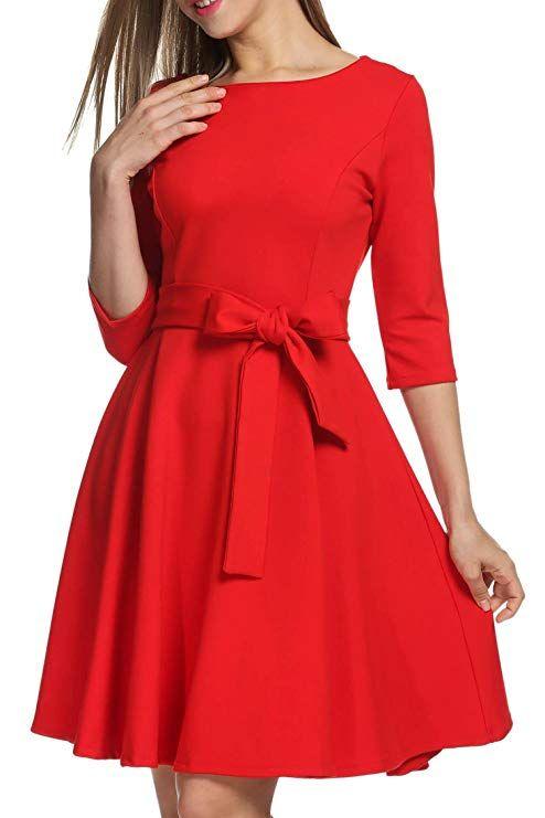 0cb3413b4201 Misakia Women's 3/4 Sleeve Bow Belt Vintage Classical Casual Swing Dress ( Black S) at Amazon Women's Clothing store: