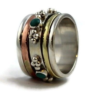 Turquoise Spinning  Ring (silver/brass/copper)