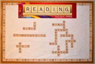 Scrabble Bible Bulletin Board with printables