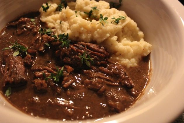 The gravy and the garlic cauliflower mash are the real stars of this pot roast crock pot recipe!