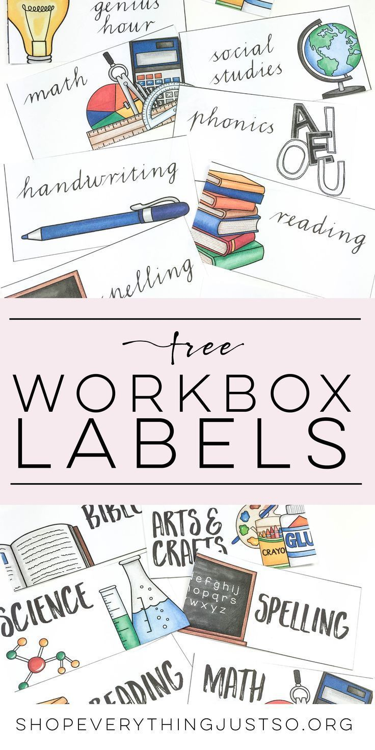 Workbox Labels | everythingjustso.org | These Workbox Labels were designed to fit the front of the popular 10-drawer plastic rolling organizers you see often in elementary classrooms, but can be used to label all sorts of items: folders, journals, binders, storage bins, stacking trays, nameplates, and more. This FREE resource is editable.