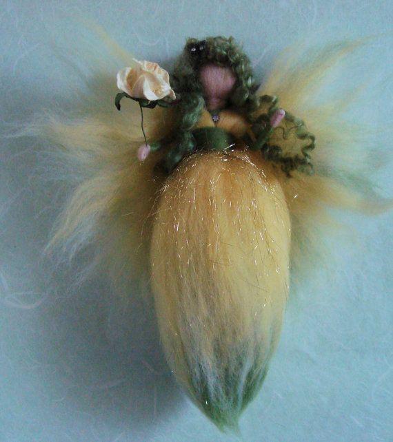 Waldorf inspired needle felted wool fairy by FaeriesatFaeFolk